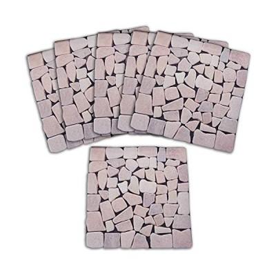 コモライフ 雑草が生えないおしゃれな天然石マット ピンク 6枚組 68332 置くだけ 庭 玄関 防草 カット可 除草