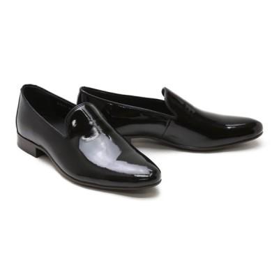 メンズ ローファー カジュアル ブラック 革靴 本革 ビジネスシューズ クインクラシコ ドレスシューズ 87002bkem ブラックエナメル オペラシューズラバーソール