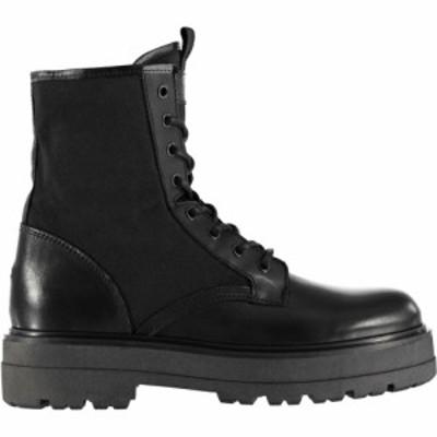 トミー ジーンズ Tommy Jeans レディース ブーツ レースアップブーツ シューズ・靴 flatform lace-up boots BLACK BDS