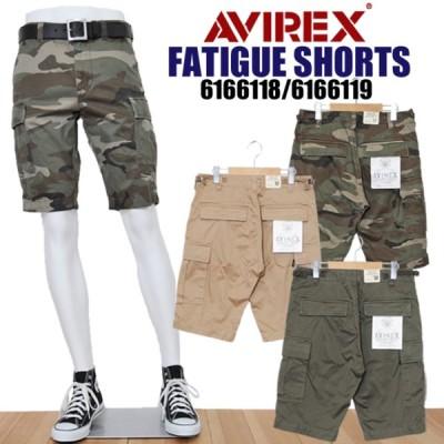 AVIREX アビレックス アヴィレックス 6166118 ファティーグショーツ メンズ カーゴショートパンツ ミリタリー 迷彩 カモ avirex 6166119 正規販売店