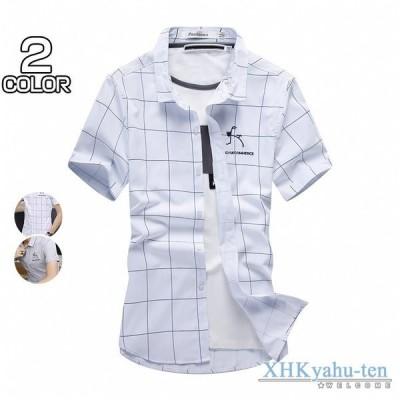 チェックシャツ メンズ 開襟シャツ カジュアルシャツ 半袖シャツ 細身 トップス サマーシャツ 20代 30代 ファッション