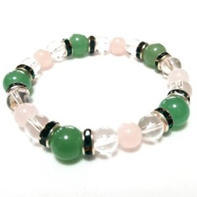 アベンチュリン ローズクオーツ 水晶 ロンデル 数珠 ブレスレット 送料無料 パワーストーン 天然石 010c03
