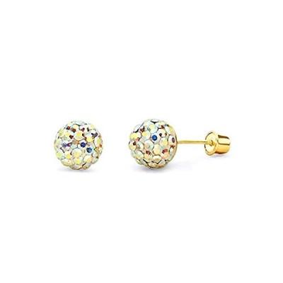 並行輸入品 Wellingsale 14K Yellow Gold Polished Crystal Ball Stud Earrings With Screw