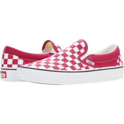 ヴァンズ Vans メンズ スリッポン・フラット シューズ・靴 Classic Slip-On(TM) Checkerboard) Cerise/True White