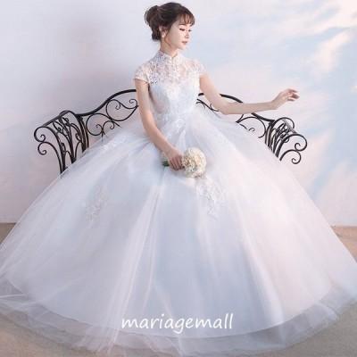 ウエディングドレス マタニティドレス エンパイア 二次会 ウェディングドレス 結婚式 花嫁 ブライダル ロングドレス 半袖 妊婦着 wedding dress
