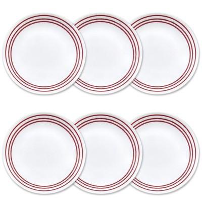 コレール リビングウェア ランチプレート 約21cm 6点セット ルビーレッド Corelle Livingware 6-Piece Ruby Red Lunch Plate Set, 8.5-Inch, White 1117069