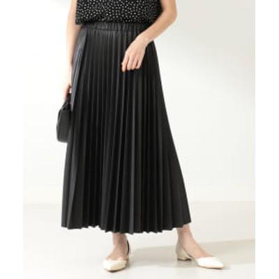 Demi-Luxe BEAMS / フェイクレザー プリーツスカート