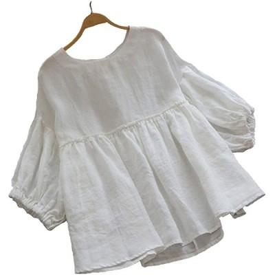 tシャツわんぴ ボートネックニット カシュクールワンピース 白わんぴーす tシャツわんぴーす 肩開き パナマシャツ(ホワイト, L)