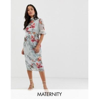 ホープ&アイビー Hope & Ivy Maternity レディース ワンピース ワンピース・ドレス ruffle sleeve pencil dress in blue floral Multi