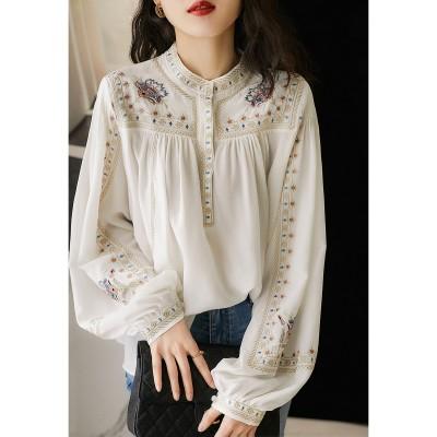 送料無料-2021春-韓国ファッション-ストライプブラウス-レディース-長袖Tシャツ-ブラウス-可愛い-トップス-レディースS1249
