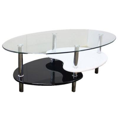 強化ガラステーブル(ローテーブル) 高さ43cm 棚収納/アジャスター付き ブラック(黒)& ホワイト(白) 代引不可 生活用品 インテリア 雑貨 テーブル [▲][TP]