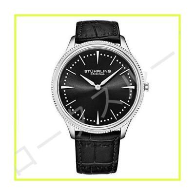 Stuhrling Original Mens Dress Watch Slim Analog Watch with a Black Genuine Leather Strap Minimalist Wrist Watch with Quartz Movment Watches