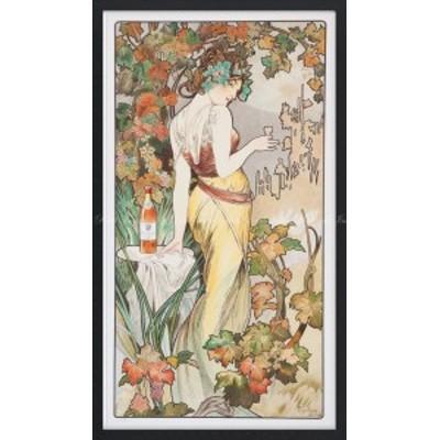 絵画風 壁紙ポスター  アルフォンス・ミュシャ ビスキー・コニャック 1899年 【額縁印刷】 K-MCH-052SGFB2 (347mm×603mm)