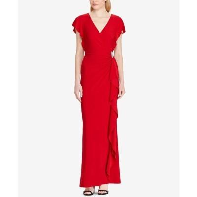 ラルフローレン ワンピース トップス レディース Flutter-Sleeve Gown Scarlet Red