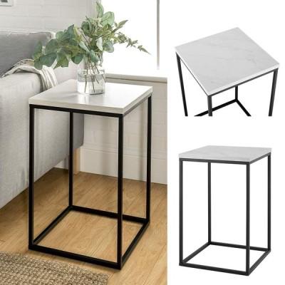 モダンで洗練された空間に サイドテーブル 大理石/ホワイトアメリカ輸入家具 アメリカ輸入雑貨