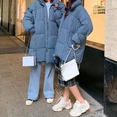 防寒 ダウンジャケット ミドル丈 無地 ベーシック ゆったり 軽い かわいい カジュアル ナチュラル こなれ感 とろみ きれいめ 韓国 ストリート 秋