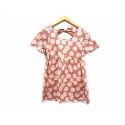 【中古】ミルクフェド MILKFED. ワンピース チュニック ミニ丈 花柄 リボン ピンク系 S レディース