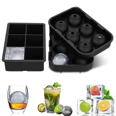 Rumay 製氷皿 製氷器 製氷機 アイスボール 丸氷 溶けにくい 透明氷 ロックアイス ビール ウイスキー ハイボール ジュース カルピス (丸型+四角型)