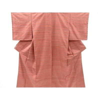 リサイクル 未使用品 横段織り出し手織り紬着物