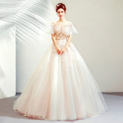 ウェディングドレス 袖あり 白 二次会 結婚式 大きいサイズ 安い ブライダル パーティー 花嫁 ロングドレス 姫系 披露宴 イブニングドレス