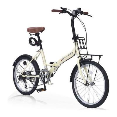 My Pallas マイパラス M-209OS2-IV 20インチ 6段変速 LEDライト&鍵&キャリア付 折畳自転車 アイボリー