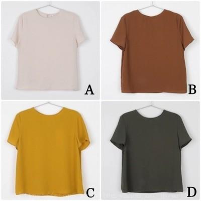 レディースTシャツシンプル半袖無地カットソークルーネックトップスイエローグリーンブラウンベージュフリーサイズ