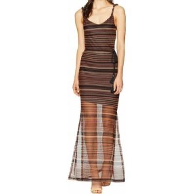 Sanctuary サンクチュアリ ファッション ドレス Sanctuary NEW Brown Womens Size XS Striped Horizon Maxi Mesh Dress