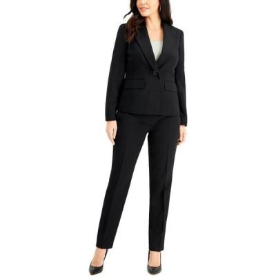 ル スーツ Le Suit レディース スーツ・ジャケット パンツスーツ アウター Single-Button Crepe Pantsuit Black