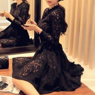 プチプラ ミニ丈 ドレス レース ブラック リボン シースルー 長袖 ワンピース エレガント お呼ばれ パーティー 2次会 披露宴 発表会 演奏