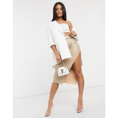 エイソス ASOS DESIGN レディース ひざ丈スカート スカート leather look side split midi skirt in light nude ヌードカラー