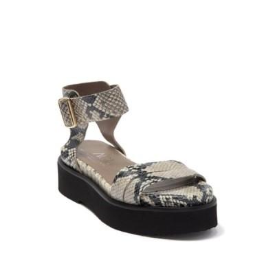 エージーエル レディース サンダル シューズ Snakeskin Embossed Leather Platform Sandal GREY SNAKEPRINT