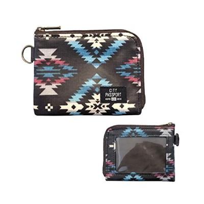 財布 小型 パスケース コインケース 幾何学模様 ブラウン 薄型 メンズ ( 日本製 小物 旅行 サブウォレット おしゃれ プレゼント )