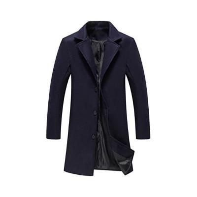 (ボナスティモーロ) Buona stimolo メンズ チェスターコート 厚手 ロング丈 暖かい カジュアル ビジネス コート (18:ネイビー M