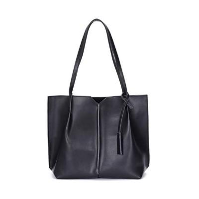 新品 On Clearance Sale Heshe Leather Handbags for Womens Shoulder Bag Tote Top Handle Bags Ladies Purse (Black)