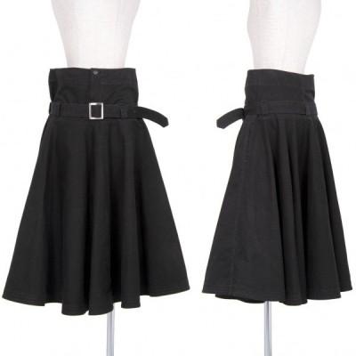 ワイズY's コットンベルト付きハイウエストフレアスカート 黒2 【レディース】