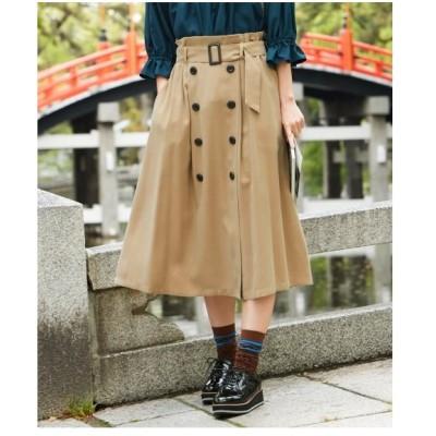 スカート ロング丈 マキシ丈 大きいサイズ レディース トレンチ風 共布 ベルト 付  L〜10L ニッセン