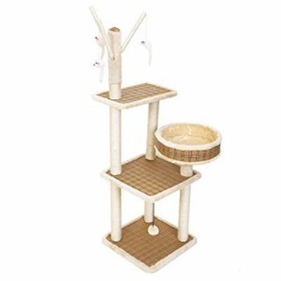 頑丈 猫の木、猫の塔サイザルスクラッチャーアクティビティセンター丸い猫 (新古未使用品)