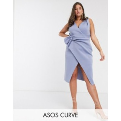 エイソス レディース ワンピース トップス ASOS DESIGN Curve plunge tuck wrap midi dress in blue Duck egg