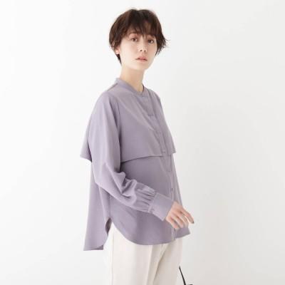 エージー バイ アクアガール AG by aquagirl スタンドカラーサテンシャツ (ライトパープル)