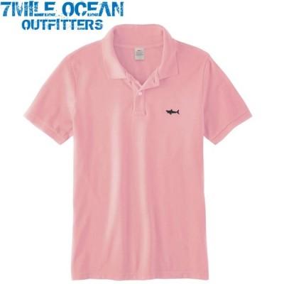 7MILE OCEAN メンズ 半袖 ポロシャツ 無地 ワンポイント 刺繍 人気ブランド アメカジ ピンク ピーチ 鹿の子 ビッグサイズ  大きいサイズ 夏物 クールビズ