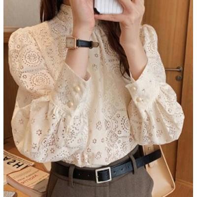 3色 ブラウス トップス レース 透け感 ハイネック 長袖 上品 きれいめ 大人可愛い フェミニン 韓国 オルチャン ファッション