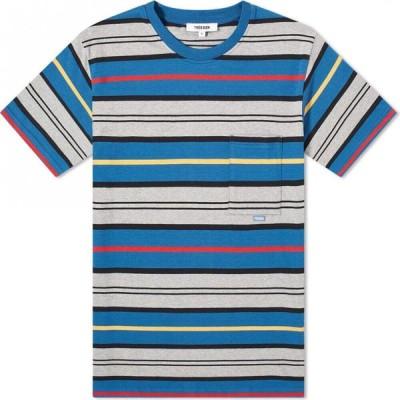 トレビアン Tres Bien メンズ Tシャツ ポケット トップス Striped Pocket Tee Blue Stripe