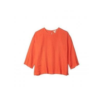 Eileen Fisher アイリーンフィッシャー レディース 女性用 ファッション ブラウス Jewel Neck Box-Top - Geranium