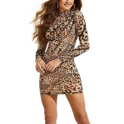 ゲス ワンピース トップス レディース Nadine Sheer Printed Bodycon Dress Earthy Sky Leopard Print