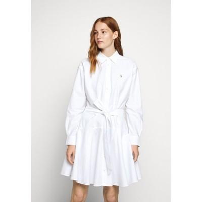 ラルフローレン シャツ レディース トップス LONG SLEEVE CASUAL DRESS - Shirt dress - white