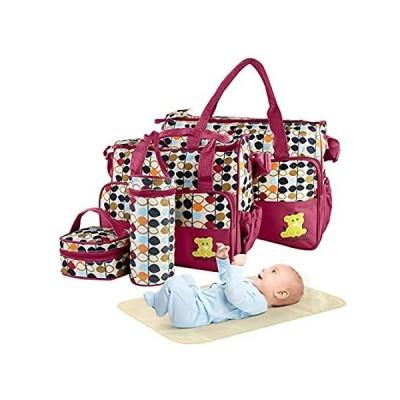 5PCS Diaper Bag Tote Set - Baby Bags for Mom (Red)好評販売中