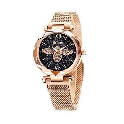 Jechin Fashion レディース Bee Starry Sky ダイヤル腕時計 磁気バックル ブレスレットウォッチ ローズゴールド並行輸入品