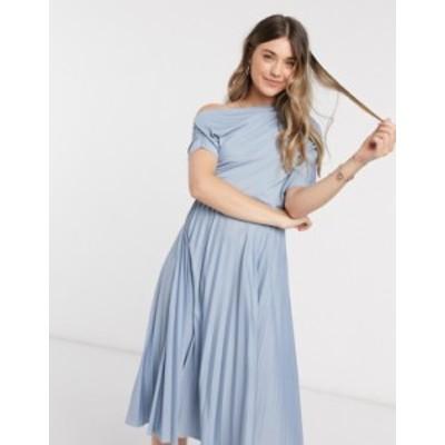 エイソス レディース ワンピース トップス ASOS DESIGN fallen shoulder pleated skater midi dress in dusty blue Dusty blue