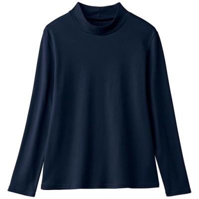あったかシンプルハイネックTシャツ(綿100%・蓄熱保温・吸湿発熱・洗濯機OK)/ネイビー/L