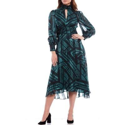 ドナモーガン レディース ワンピース トップス Keyhole Mock Neck Abstract Plaid Shadow Stripe Print Long Sleeve Midi Dress Deep Sea/Black
